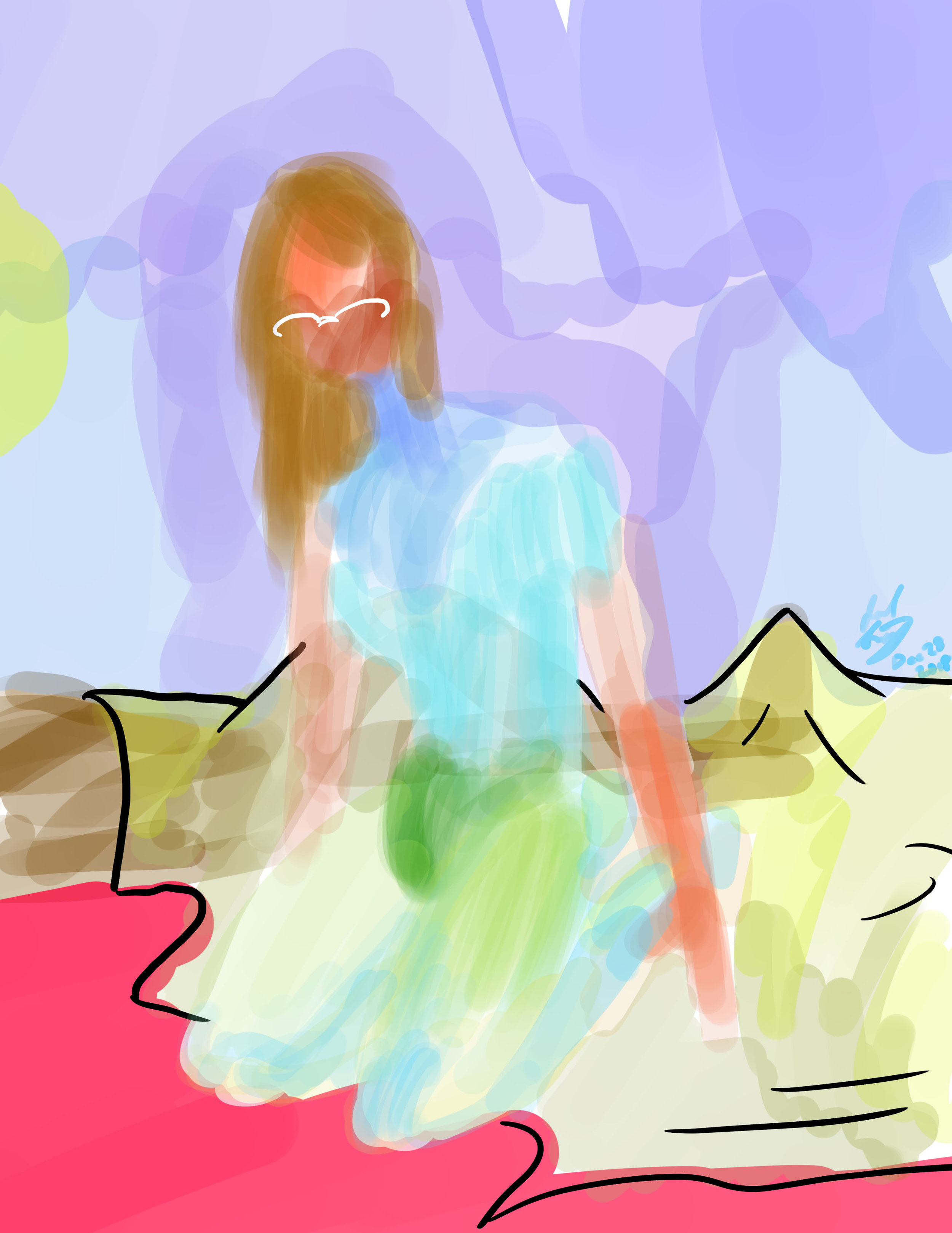 Woman on Bed/Island