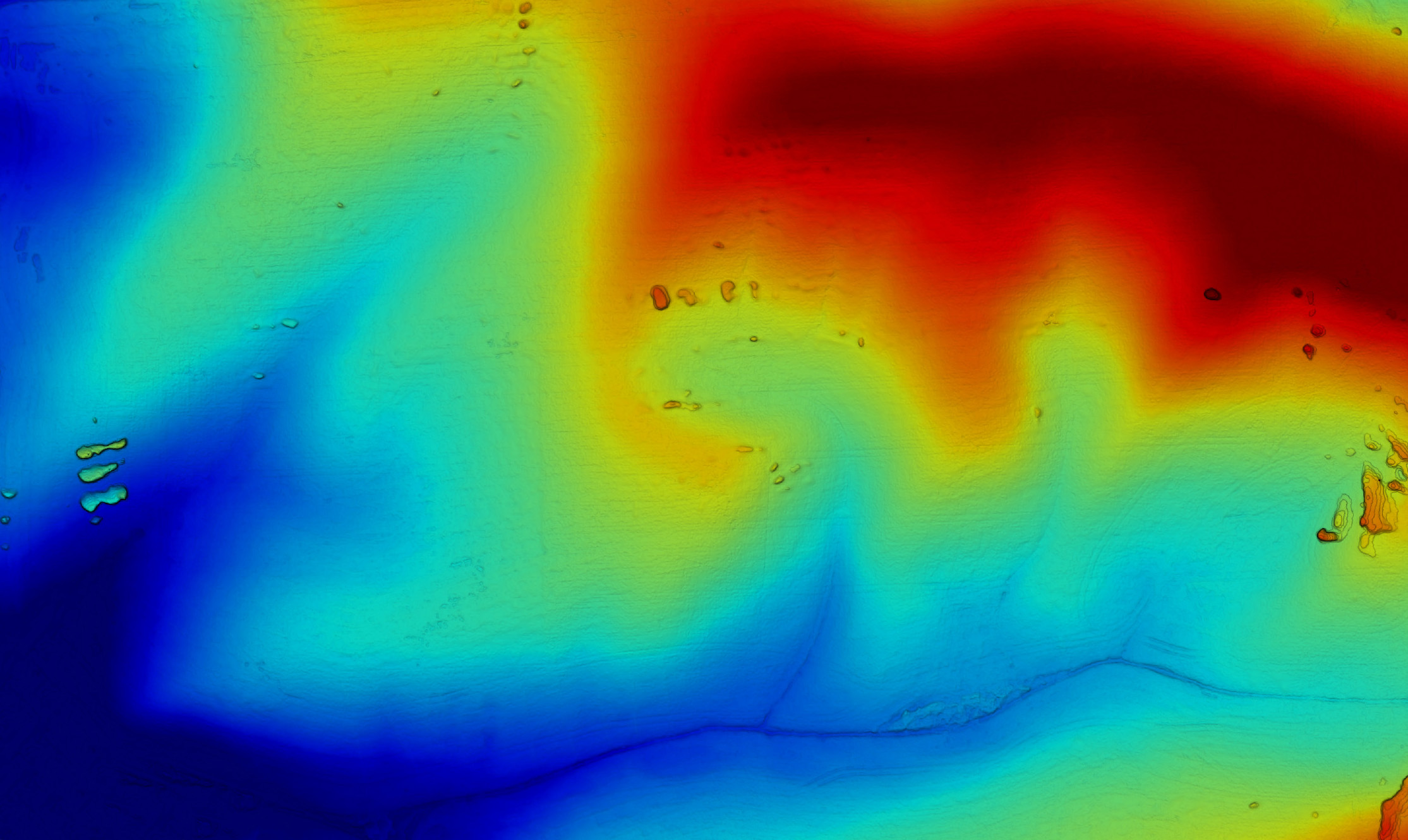 Elevation Mapping - With the drone option, we can display the relative elevation within the mapped area. The blue represents lower areas and the red higher.