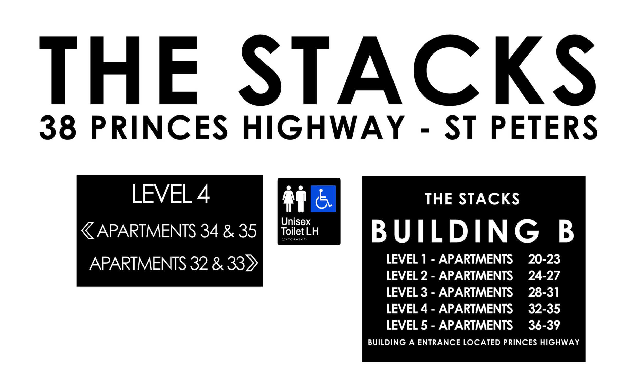 The Stacks Apartments - The Stacks - St Peters, SydneyClose client relationship to design a industrial robust signage package for a boutique 35 apartment development by Casumo Construction next to the iconic smoke stacks from the brick works that used to operate across the road, now a massive parkland.5mm Aluminium engraved with white paint filled used on all wayfinding, braille and tactile to match the color scheme throughout.http://www.thestacks.com.au/