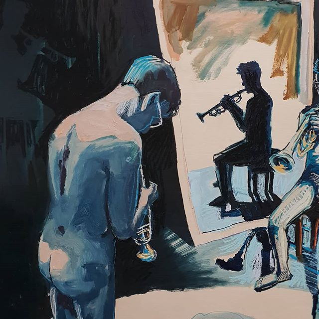 Earlier in the year I spent a night playing with this lil diddy. Today I am delighted to learn it was selected for Naked and Nude at @manningregionalartgallery . Hey @ryleygillen do you want to come to taree and pose with it? #naked #nude #painting #drawing #trumpet #ego #artprize #manningregionalartgallery #nakedandnudeartprize #nakedandnude #inthenuddy