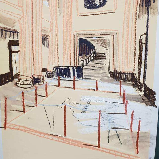 Complicated spaces and compositions at the state library this weekend!!! This vertical format has had so many compositional challenges. #trim #trimthecat #statelibrarynsw #childrensanimation #learning #exploring #drawing #handdrawnanimation #catsinthelibrary #kitty #museum #myhandhurts #wobblylines #drawing #columns #needanap @statelibrarynsw