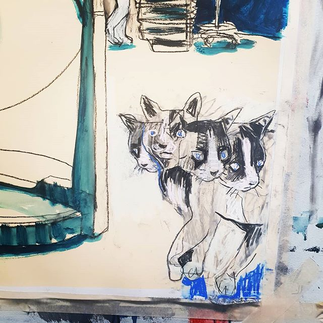 Because some days a cat with four blurry heads says it all... #catdrawing #studio #animationaftermath