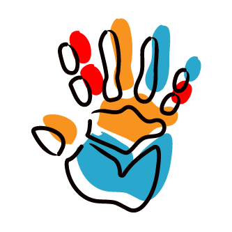 create icon - coloured hand print