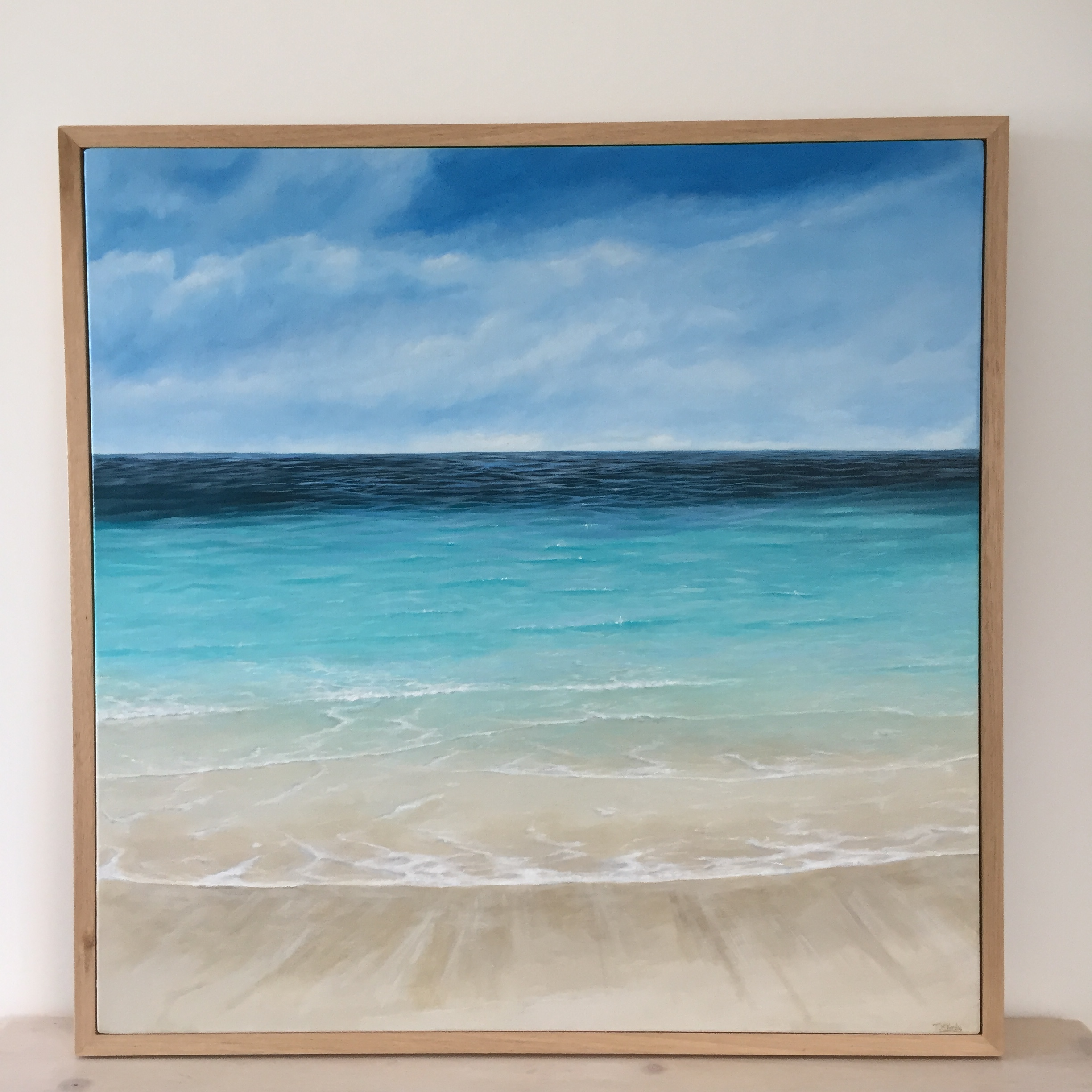 Calm - $750Acrylic on gallery wrapped canvas. Now framed in Australian oak.760 x 760mm.