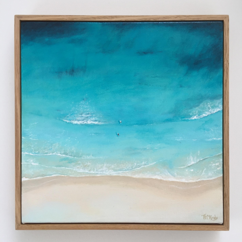 Surfers Leighton - SOLDAcrylic on canvas in a custom Australian Oak Frame.300 x 300mm