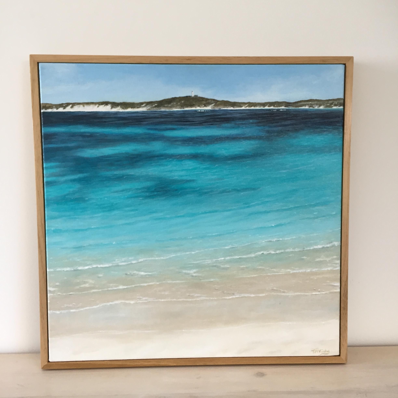 View Salmon Bay to Wadjamup Lighthouse, Rottnest - SOLDAcrylic on canvas framed in a custom Australian Oak frame.550 x 550mm