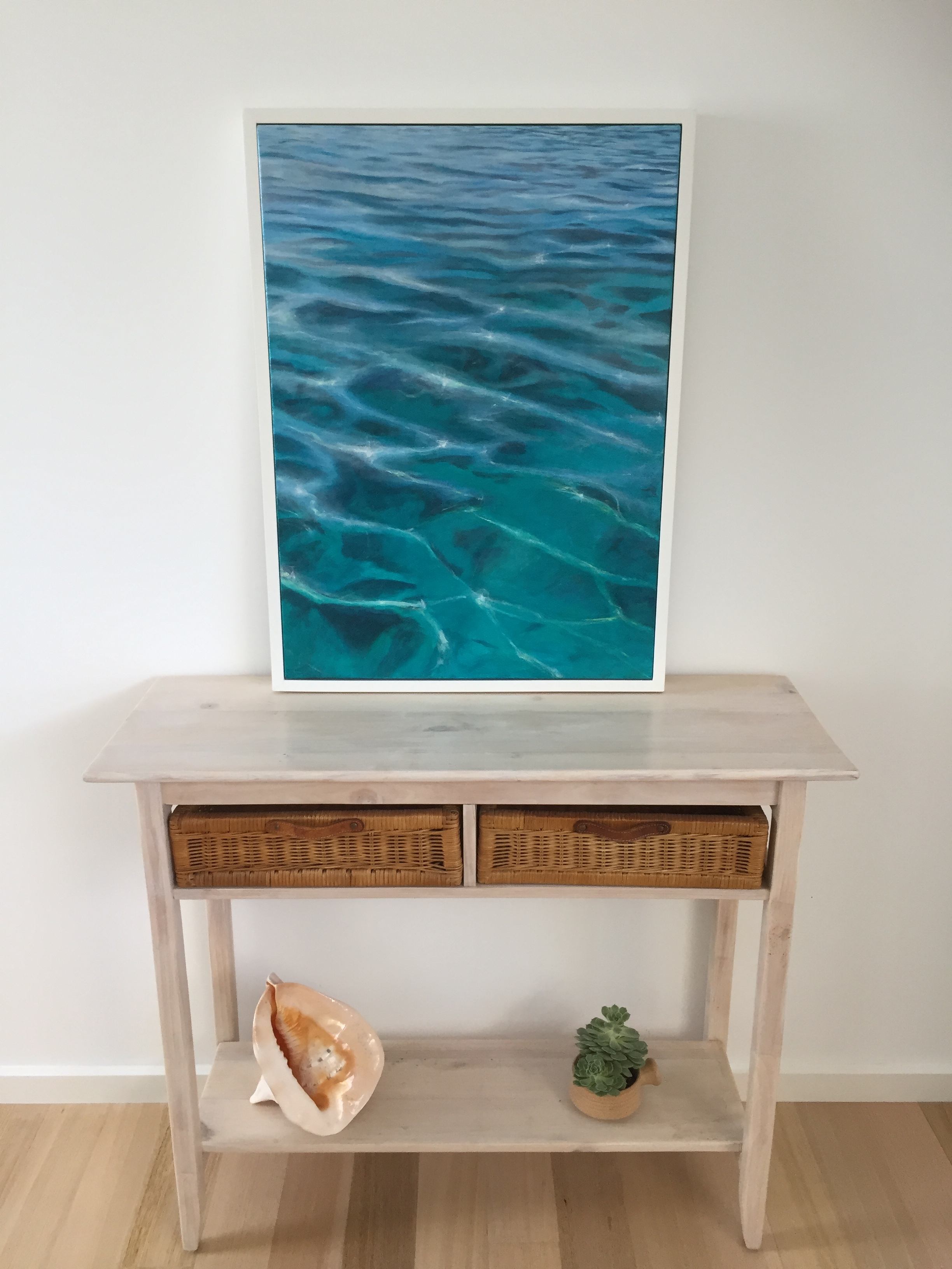 Calm Water - SOLDAcrylic on canvas framed in a custom white frame.