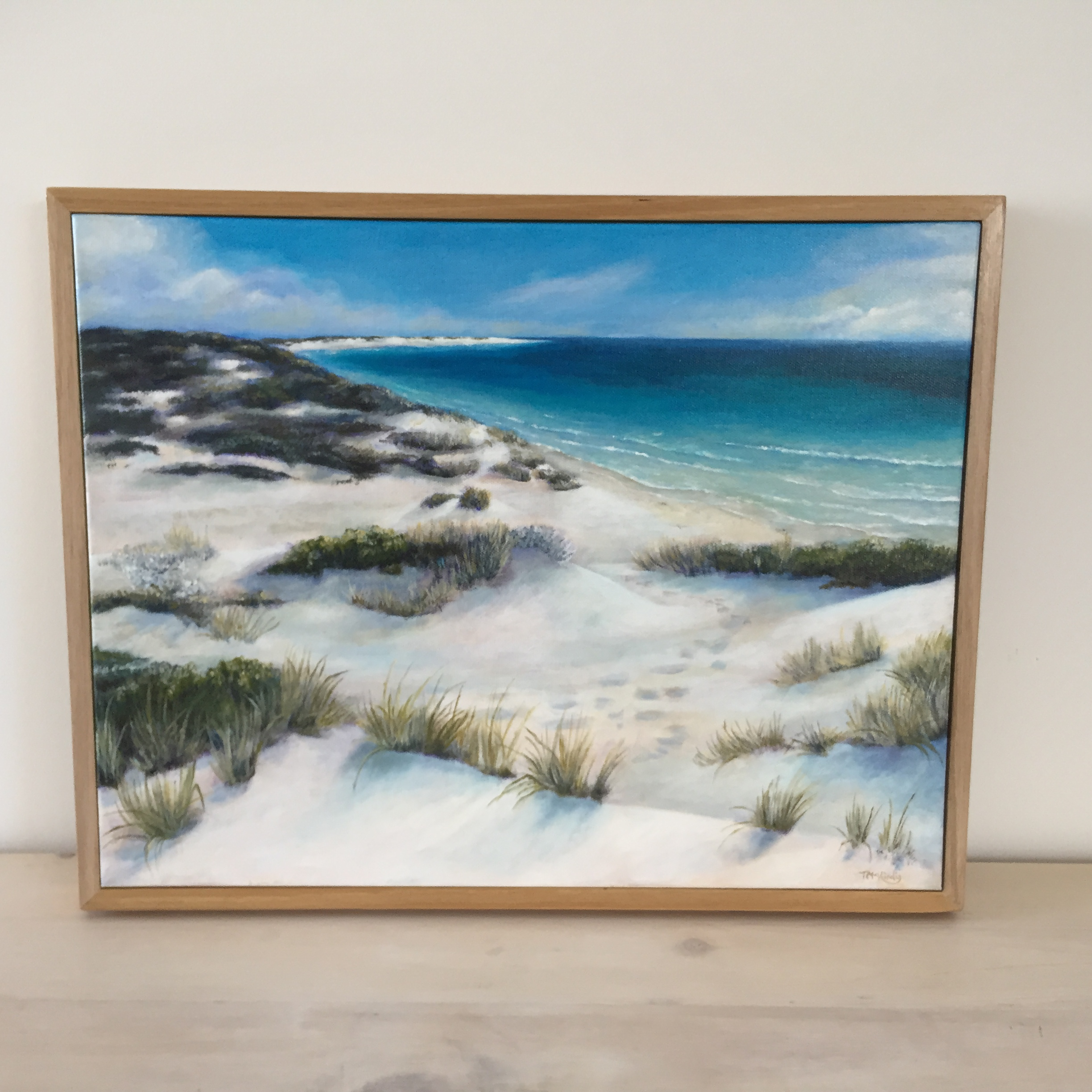 View from the Dunes - SOLDAcrylic on gallery wrapped canvas. Australian oak frame.450 x 360mm