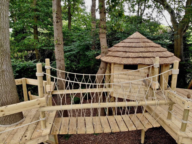 """...fixed-beam rope bridge, treehouse and decks"""