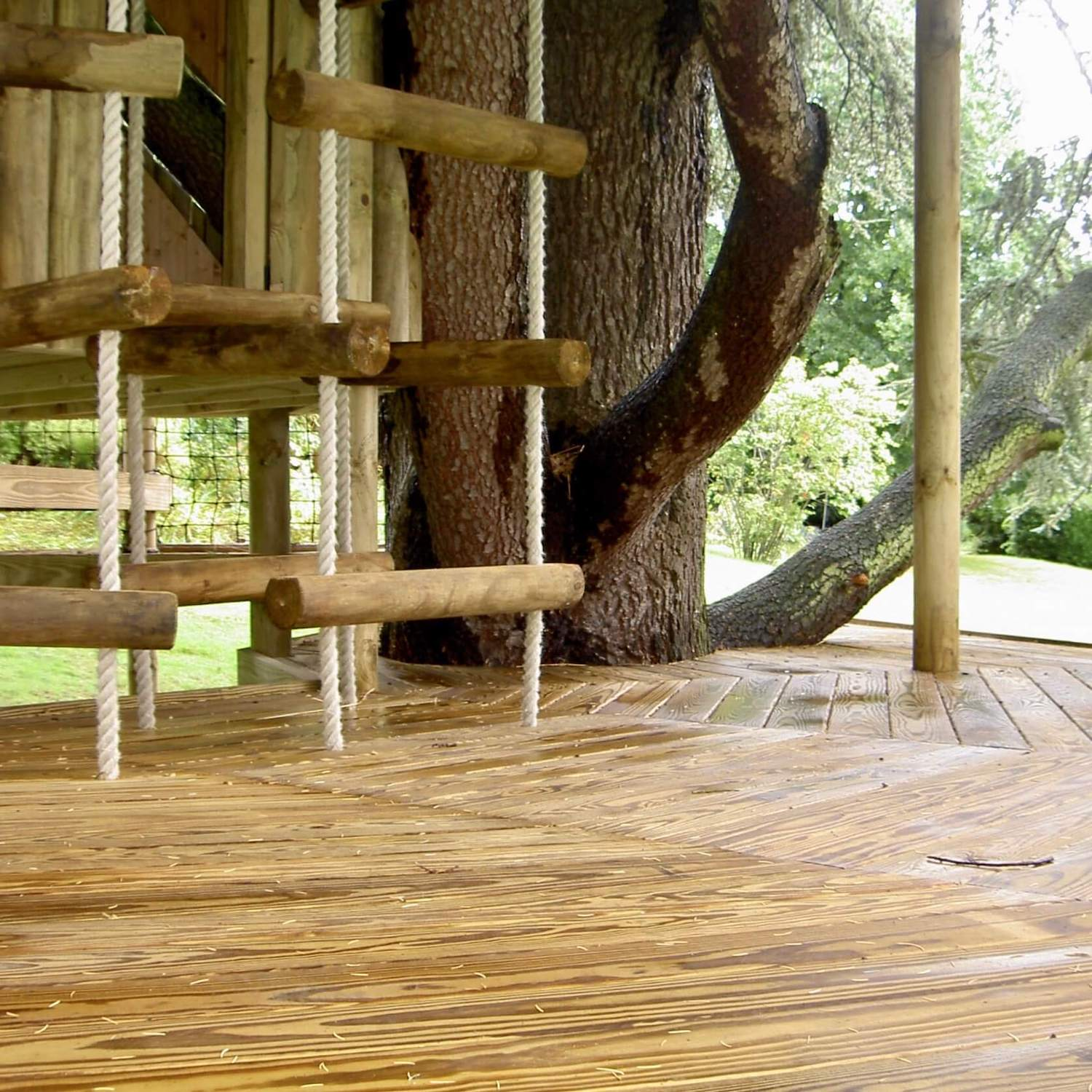 """...treehouse decking and 4-sided rope ladders"""