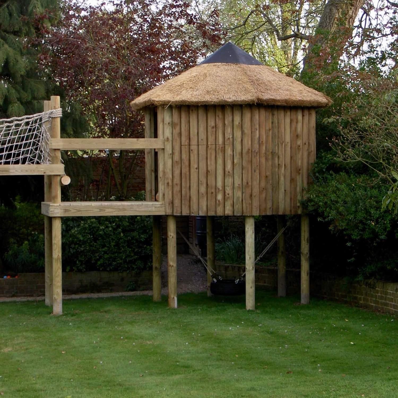 """...treehouse and platform leading to scramble net bridge"""