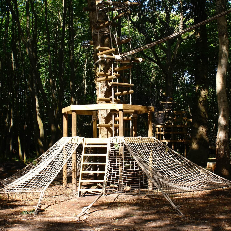 """...woodland scramble net platform"""