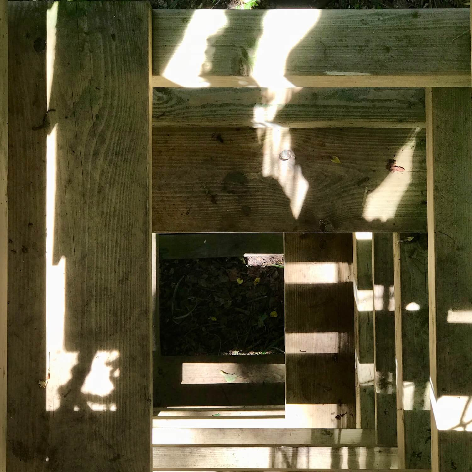 """""""...view down through a 4-sided rope ladder"""""""