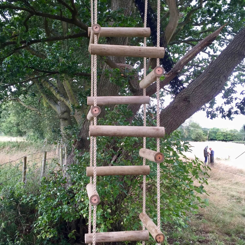 """...spiralling rope ladder in eucalyptus poles"""
