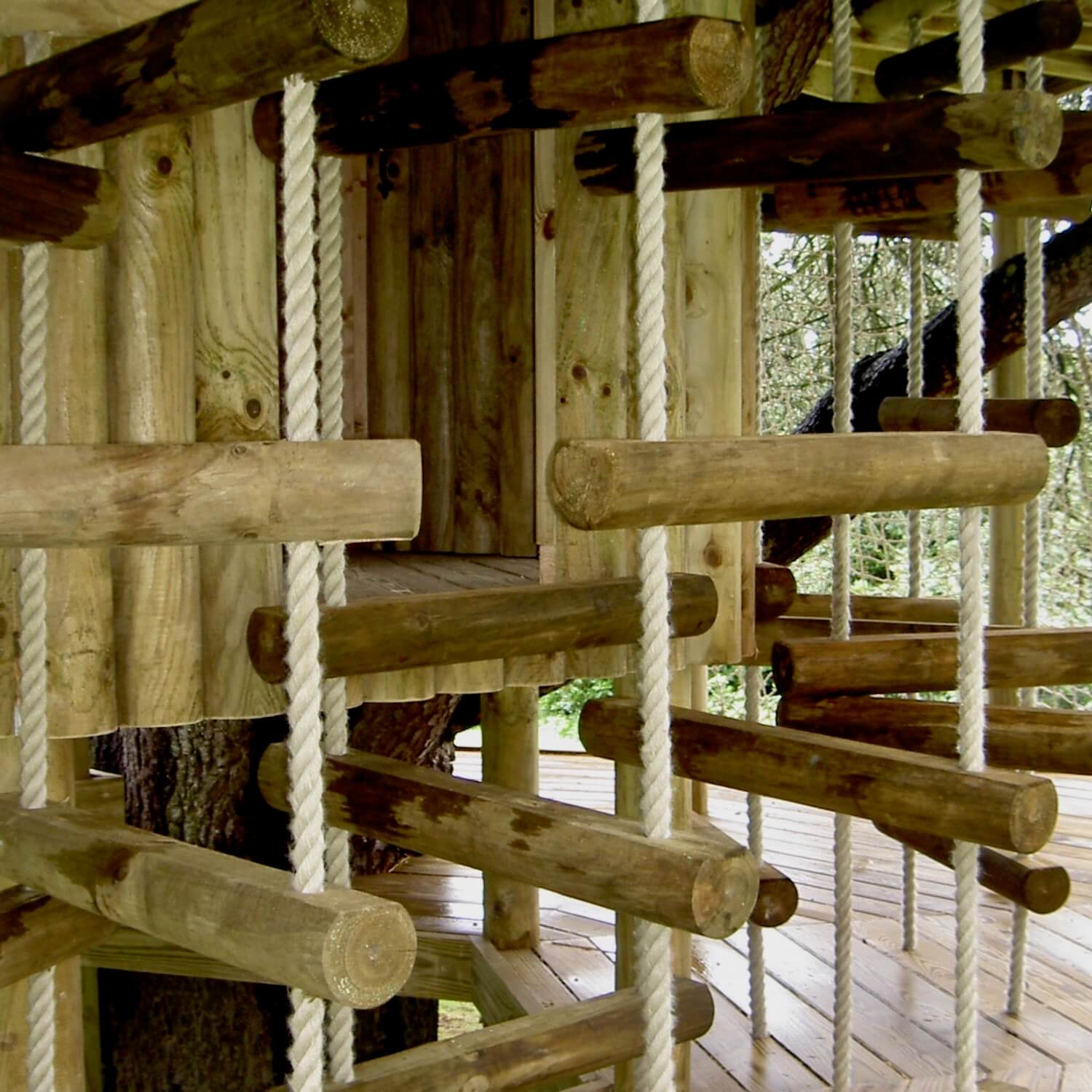 """""""...rope ladder maze leading to a treehouse hatchway"""""""