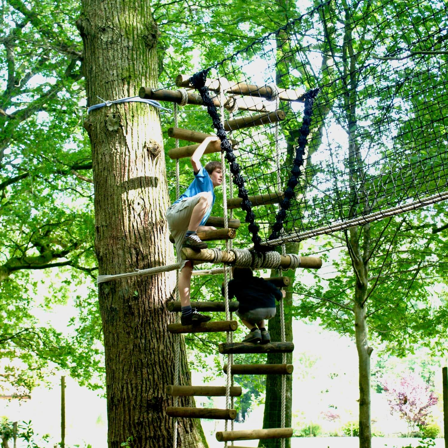 """""""...climbing 4-sided rope ladder"""""""