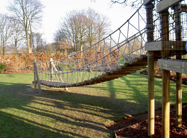 """...garden rope bridge to treehouse"""