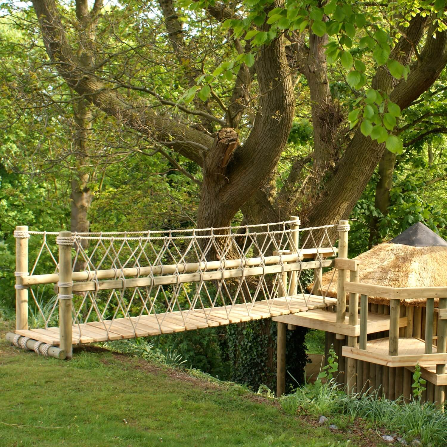 """""""...rope bridge leading from garden to treehouse"""""""