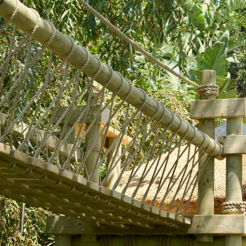 """...fixed-beam rope bridge for treehouse"""