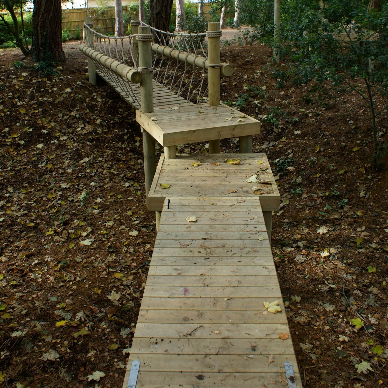 """...rope bridge linked to a drawbridge"""