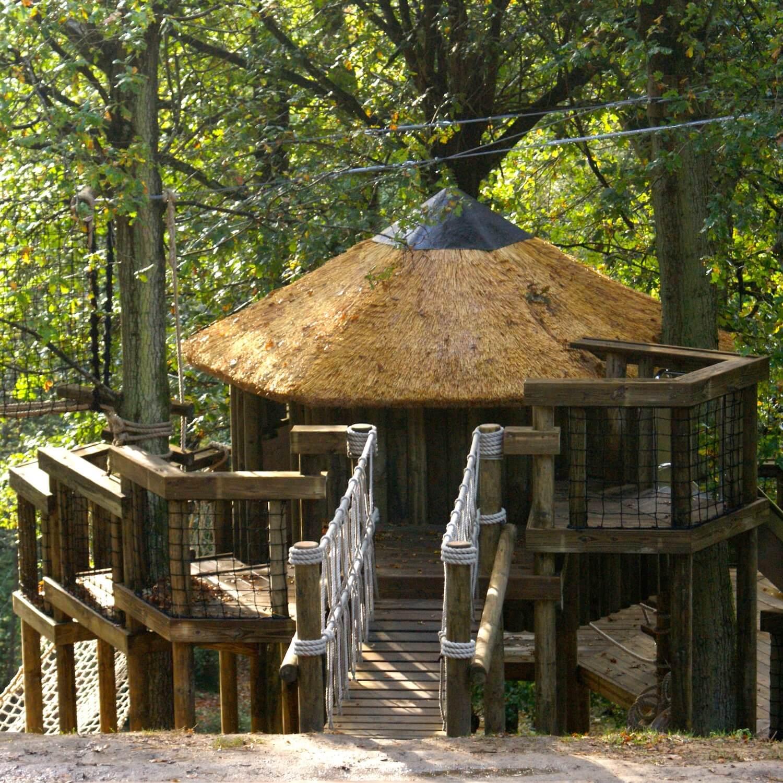 """...rope bridge enters treehouse decks"""