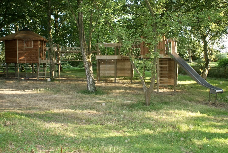 """...treehouse play-set with rope bridge"""