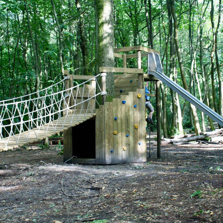 """...rope bridge plus climbing wall and slide"""