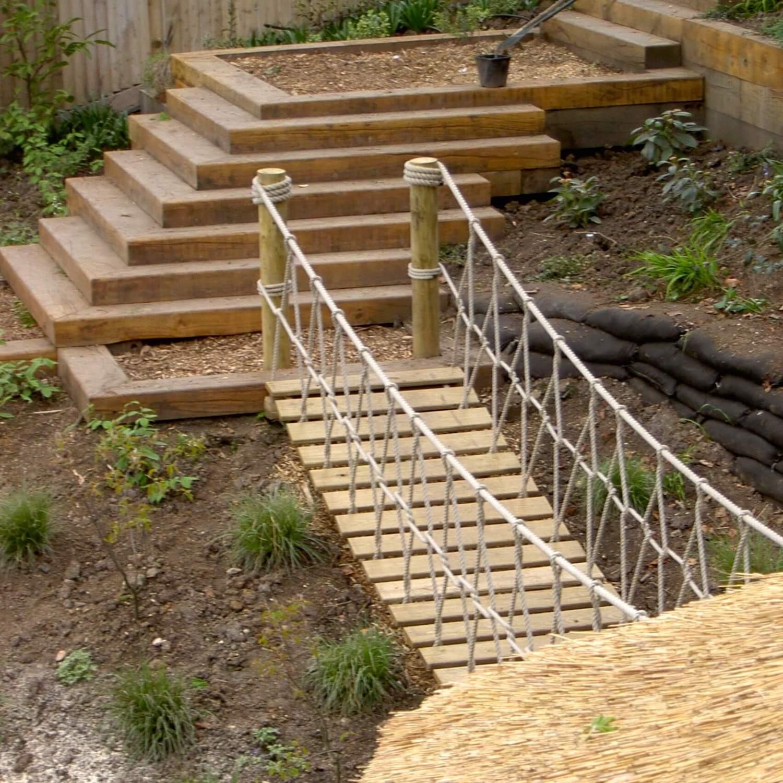 """...rope bridge for landscape designed garden"""