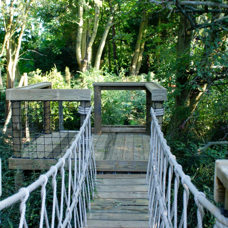 """...rope bridge and platform deck"""