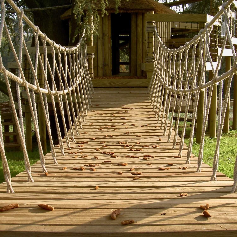 """...rope bridge entrance to treehouse"""