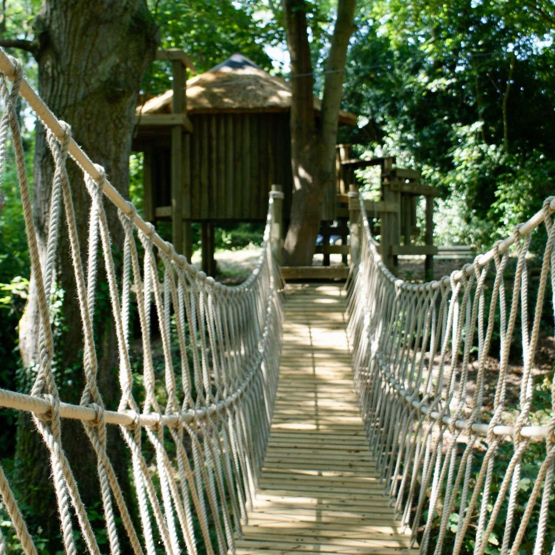"""""""...rope bridge leading to woodland treehouse"""""""
