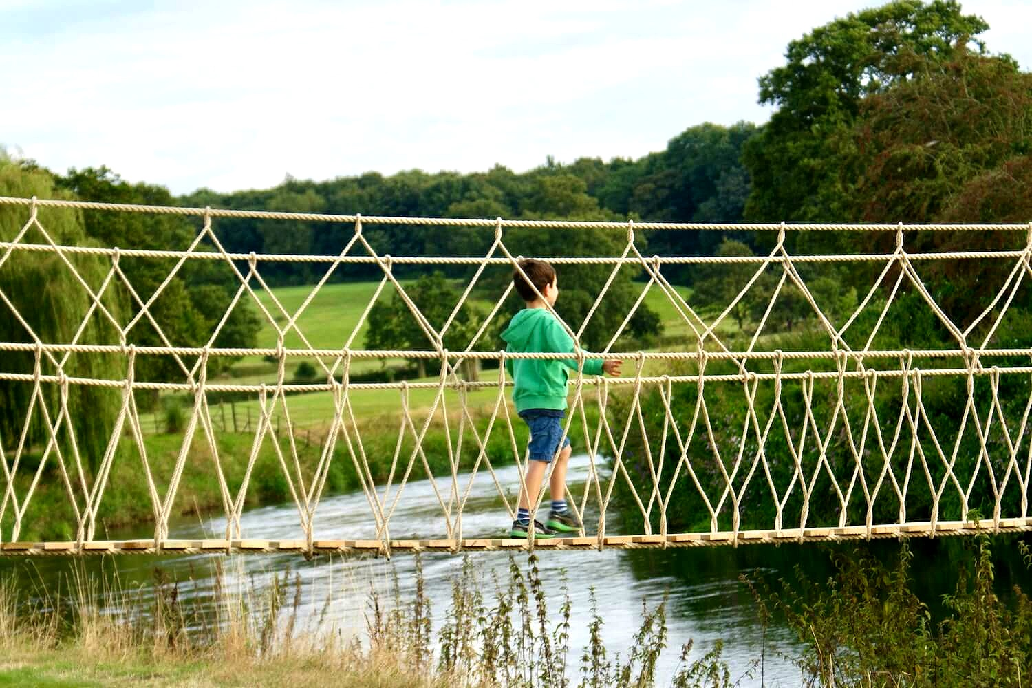 Rope Bridges for rivers…we have created the two longest Rope Bridges in the UK.  More images of this project >