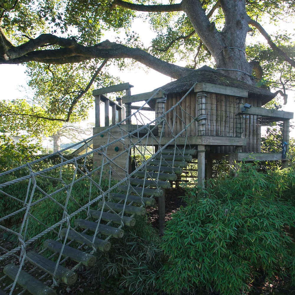 """""""...garden treehouse with rope bridge entrance"""""""