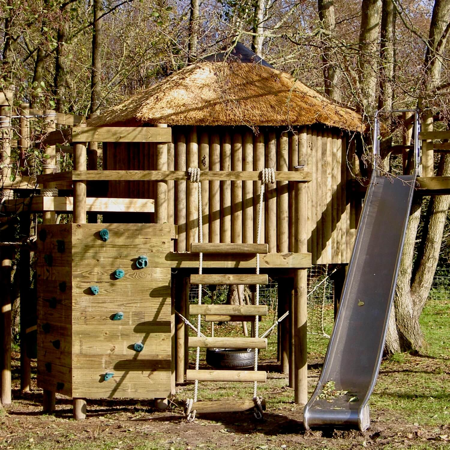 Treehouse, Slide, Rope Ladder and Climbing Wall