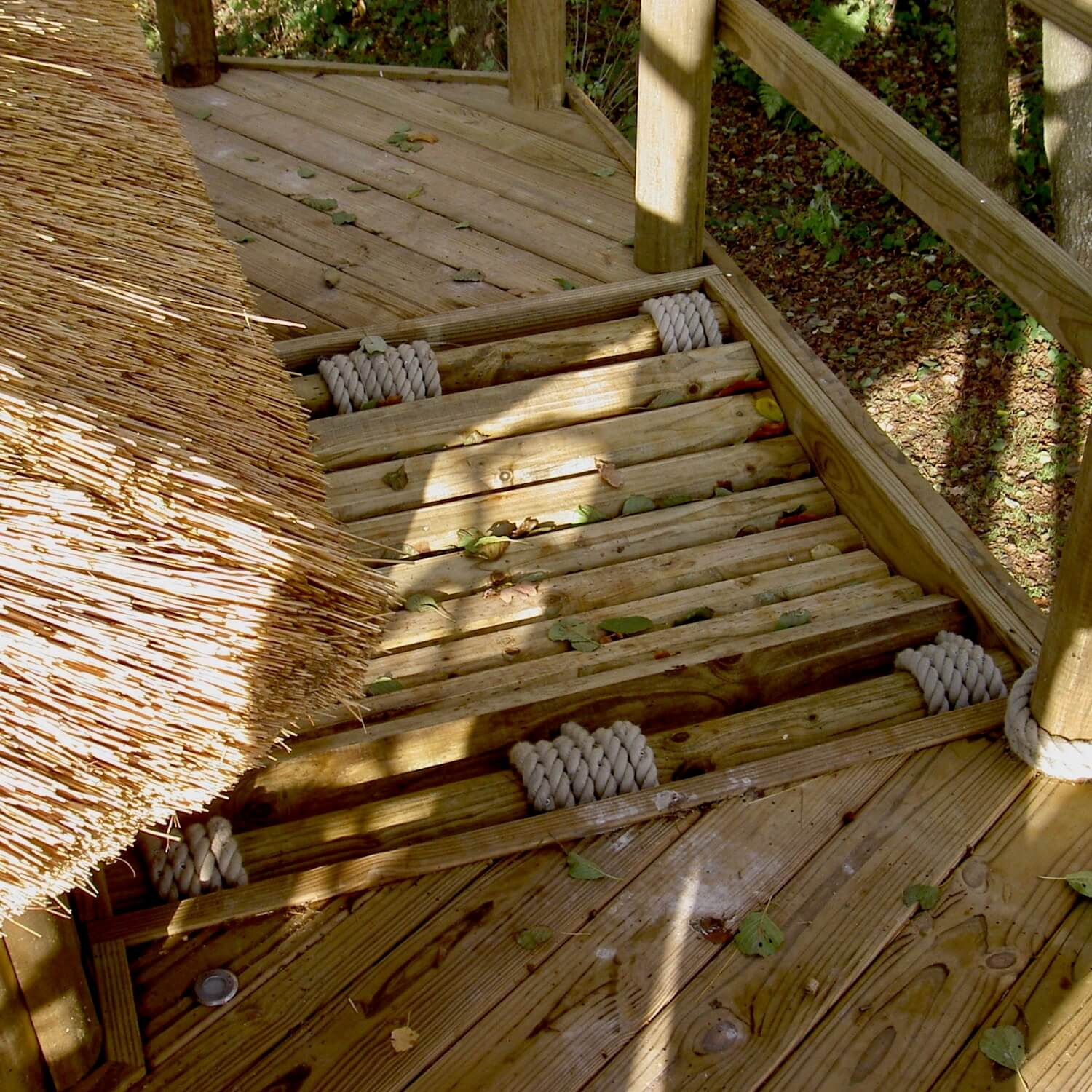 Wobbly Bridge incorporated into a treehouse deck
