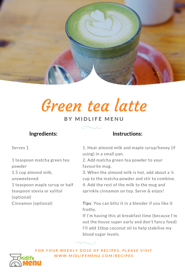I use matcha green tea as an alternative to coffee. It still contains some caffeine but it's packed full of nutritional value and doesn't spike my blood sugar levels like coffee can. But matcha green tea can taste a bit 'grassy' on it's own! This recipe is the one that I use. See my tip at the end for adapting the recipe.