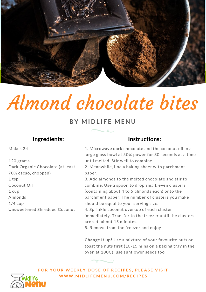 If you're after a (slightly) lower sugar alternative to chocolates, try this recipe for almond chocolate bites. With dark chocolate and whole nuts, there's no nasties or processed ingredients. Perfect for that little pick-me-up just when you need it without undoing all your healthy eating habits. Enjoy! midlifemenu.com/recipes/almond-chocolate-bites