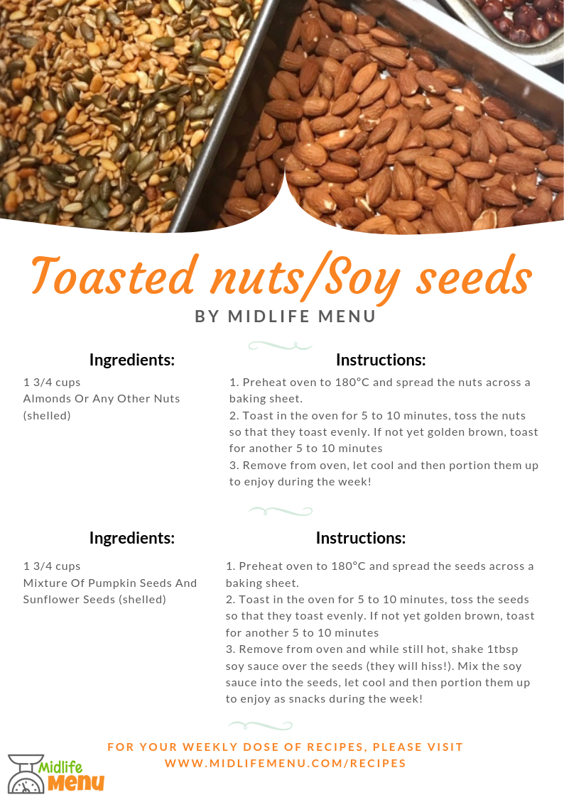 These snacks are super easy to prep if you've already got the oven on for something else, like your dinner. The temperature doesn't have to be exact as you can toast them for longer or shorter time depending on the temperature. I always make sure we've got a tub of both these snacks on hand. The nuts are great with fruit as a snack. The seeds can be used as snacks but also sprinkled on any dish that needs a salty hit or a crunchy texture, such as soups and salads. They're great as part of your weekend prep to have in the cupboard for quick snacks during the week. www.midlifemenu.com/recipes/nuts-and-seeds