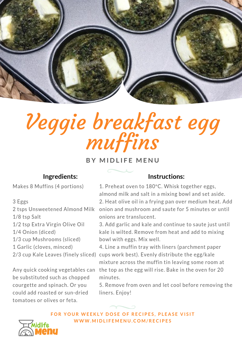 These are super useful, and tasty, breakfast muffins that can be prepped and frozen at the weekend and then defrosted and heated up in the microwave each morning or when you get to work. I find people really struggle with breakfast alternatives to toast and cereal which seem so convenient. Here's your breakfast alternative! www.midlifemenu.com/recipes/veggie-breakfast-egg-muffins
