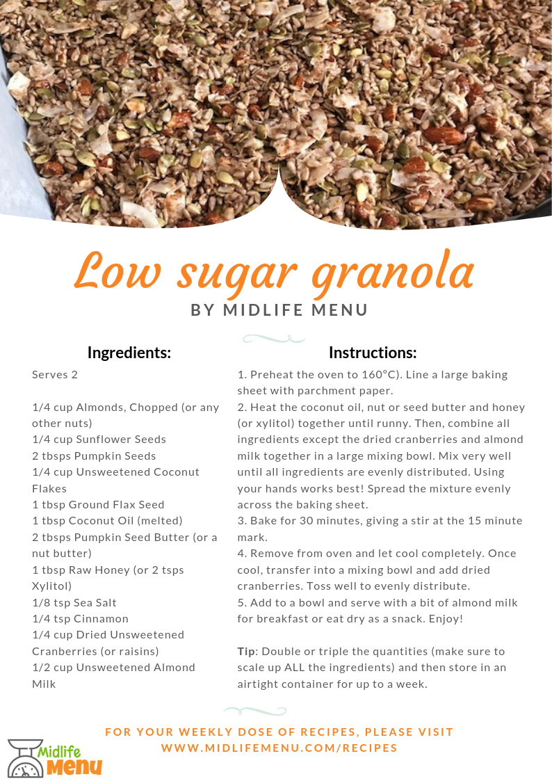 Breakfast tends to be a very high carb meal, traditionally cereal or toast. While these taste great, they won't keep you full for long and they can put you on the blood sugar rollercoaster for the rest of the day. But some of my clients struggle with giving up their cereal for breakfast so this granola recipe keeps the usual granola ingredients but with less sugar to reduce any blood sugar spikes and dips. www.midlifemenu.com/recipes/low-sugar-granola