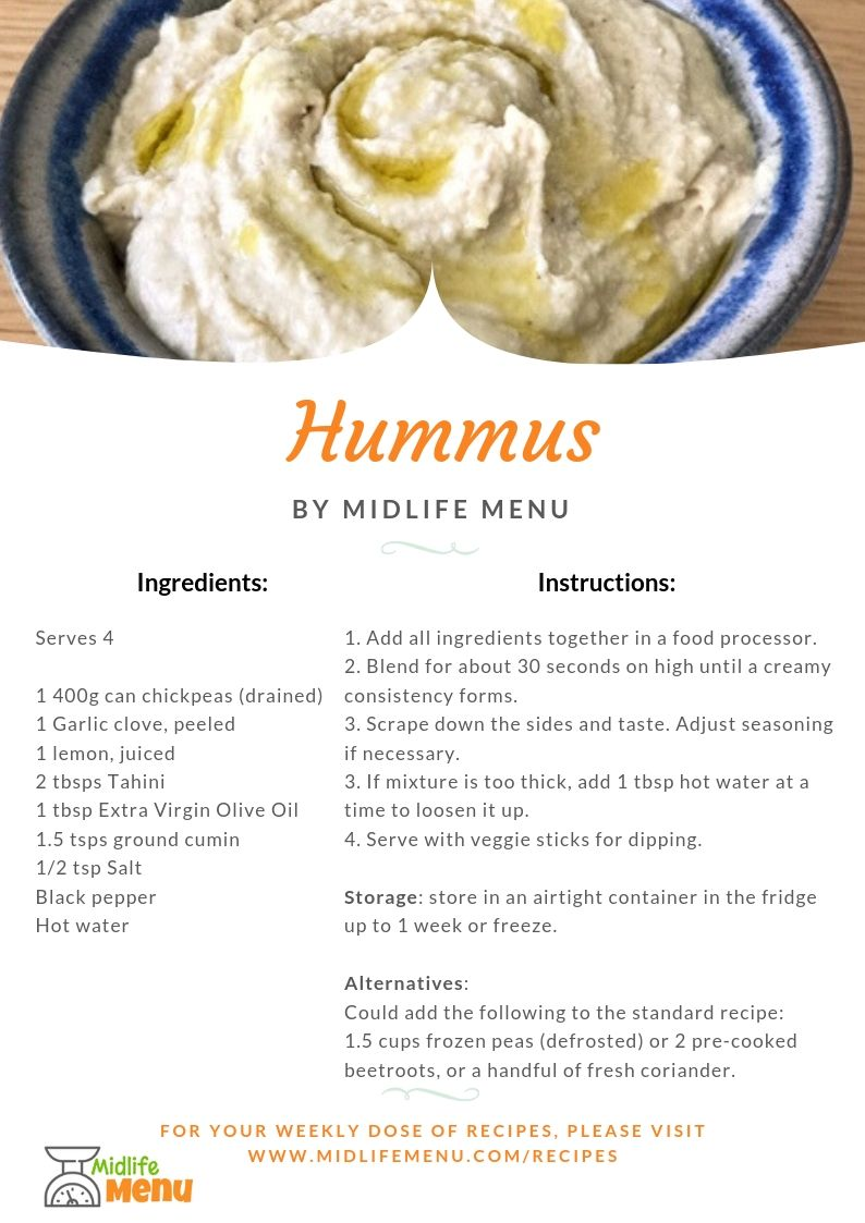 When I was recently asked for a hummus recipe, I realised that I just tend to throw ingredients together without weighing or measuring anything! So, this forced me to write down exactly what I do and also to double check it before I publish it. The verdict? My husband tells me it's the best yet and I should have doubled the ingredients because we ate it all in one sitting. I know it's really convenient to buy hummus but it's super easy to make yourself and you'll know exactly what's gone into it. Go on! have a go… midlifemenu.com/recipes/hummus