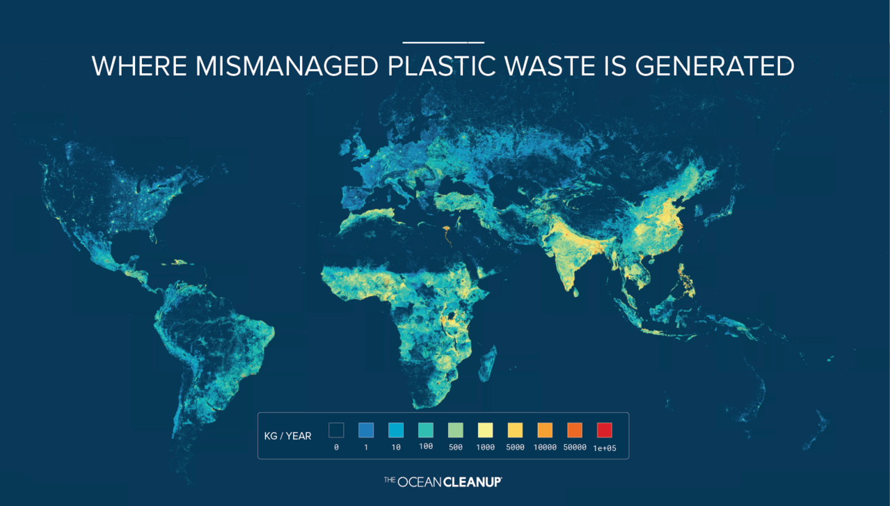 Estimate of plastic waste from rivers into the world's ... on map of australia, world map showing oceans, map of antarctica, map of caribbean, map of seas, map of cities, map of home, map of indian ocean, map of sh, printable world map with oceans,