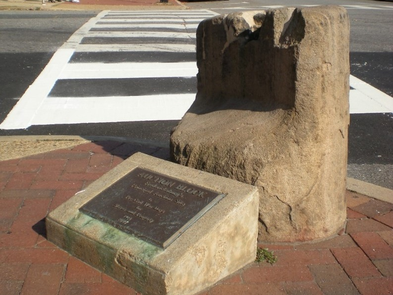 Fredericksburg's Slave Auction Block. Photo by author.