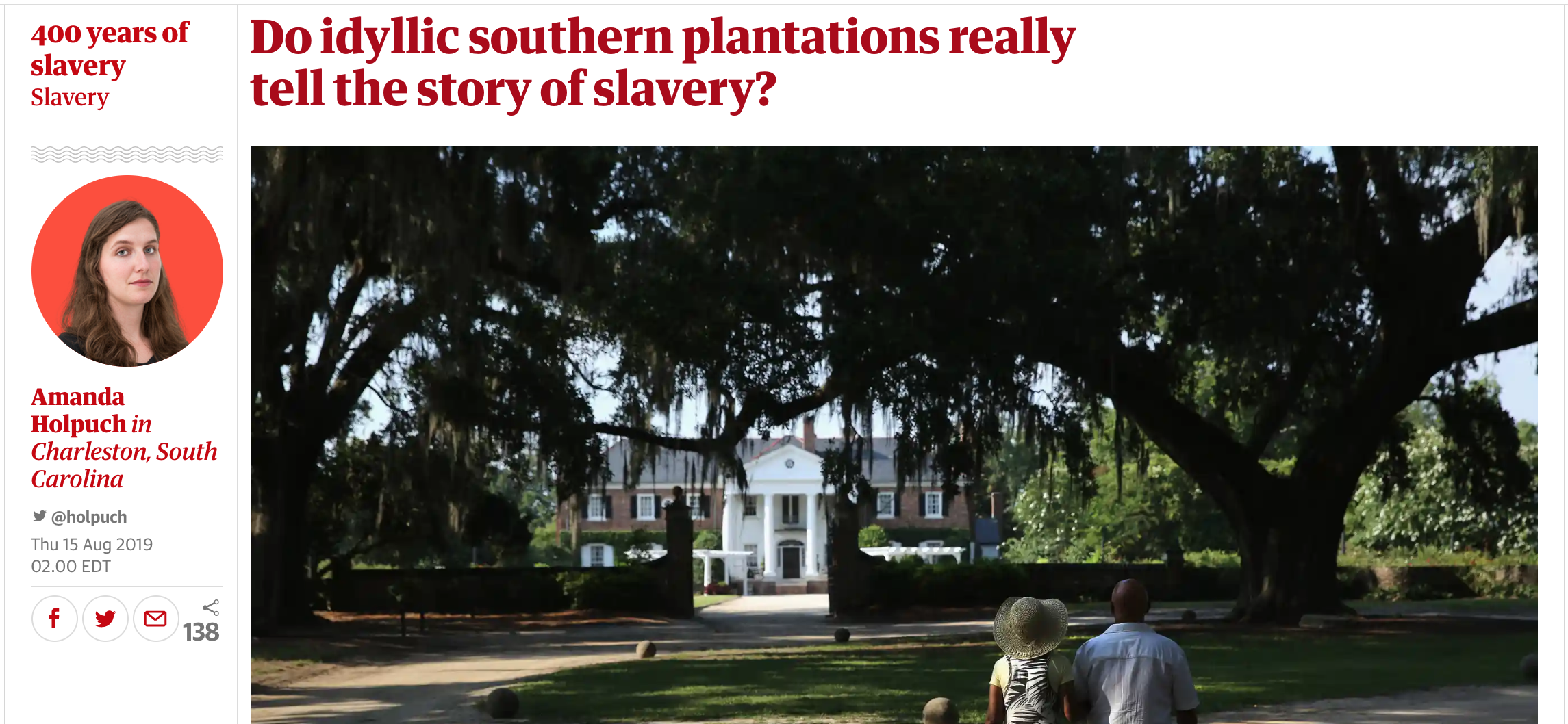 """Do idyllic southern plantations really tell the story of slavery?  - August 15, 2019 @TheGaurdian  """"Amy Potter, an associate professor of geography at Georgia Southern University, has been leading a Reset project in Charleston, and found it was still possible to visit a plantation without learning about the African American experience.  Starting in 2016, Potter and her team conducted research at four traditional plantations and observed 35 house tours. They found that on all but one of the observed tours, furnishings, family history, architecture and gardens are mentioned more often than slavery.   Slavery  was discussed on 70% of those tours, but Potter cautioned that this was often done by discussing the enslaved's labor, not humanity; as part of a narrative about a loyal slave and a kind master or told in the passive voice."""""""