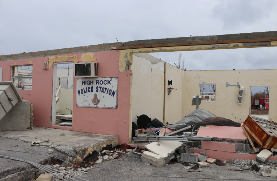 High Rock police station, gutted. This was the reality for many homes on the island build of concrete - held to some of the strictest building codes in the Caribbean, the storm spared no one, but, the rebuilding process will benefit some of the more wealthy for sure. (Personal photo - Dr. Alana Dillette)