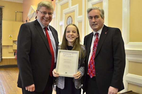 Source: Point of light; Pictured Grace Warnock receiving her award for her invisible disability campaign