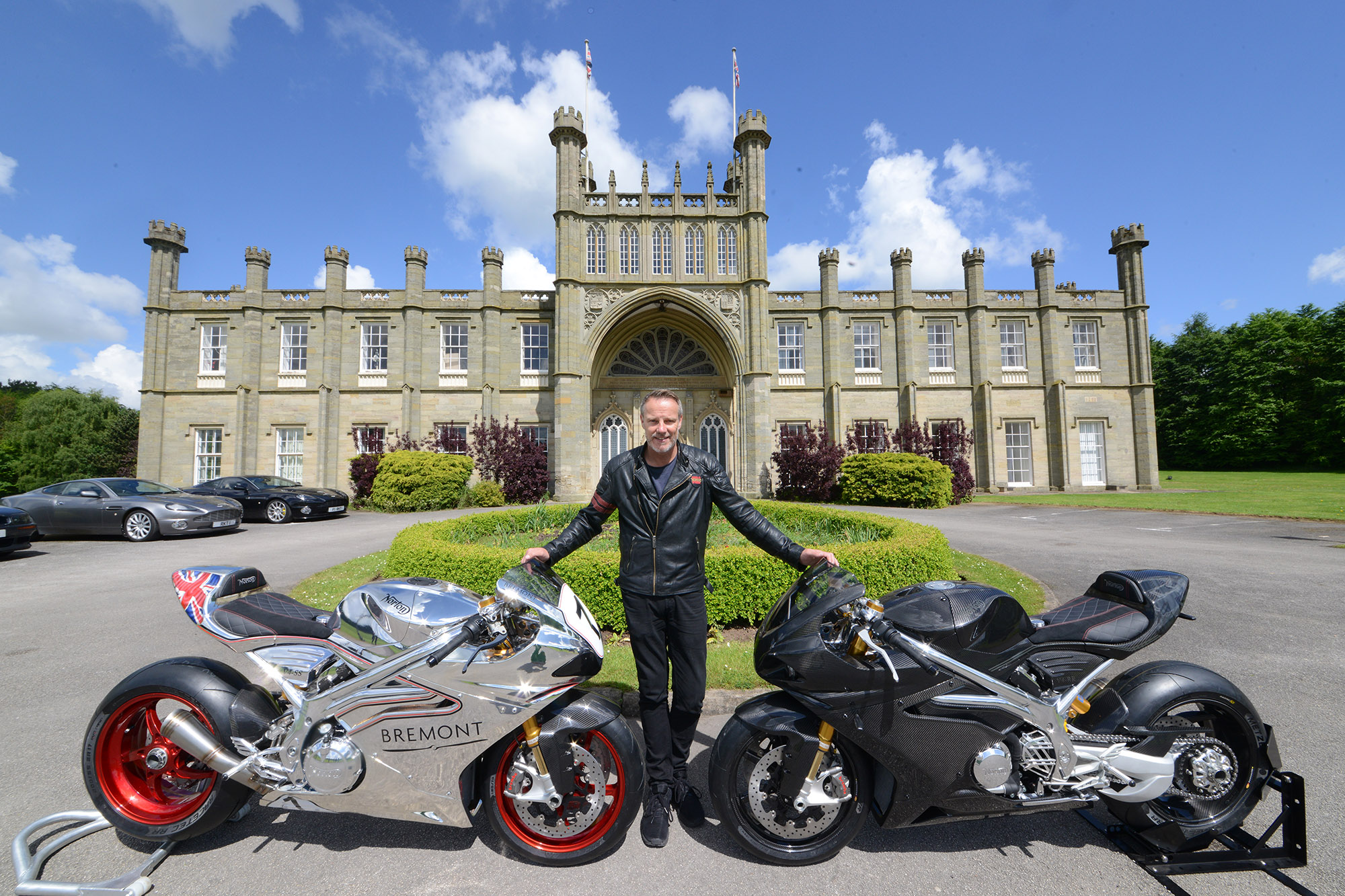 Stuart Garner, owner of Norton Motorcycles, outside his home Donnington Hall