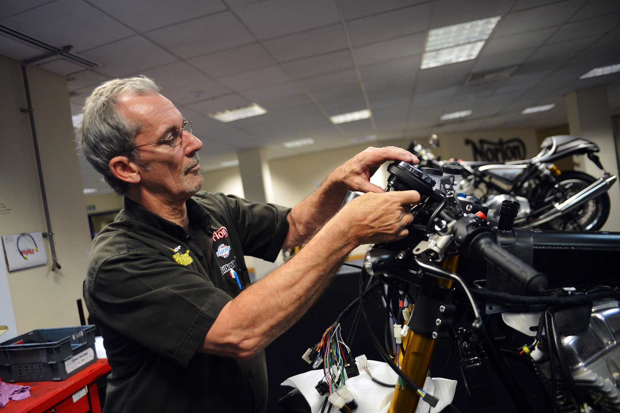 Mick Colley works on a new bike
