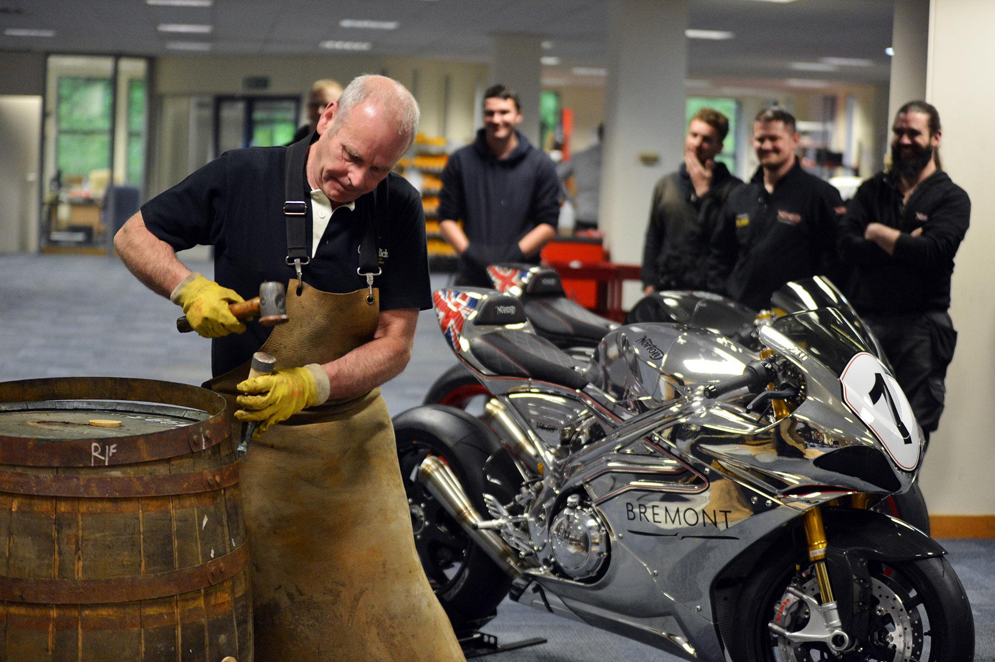 Ian McDonald demonstrates raising a cask