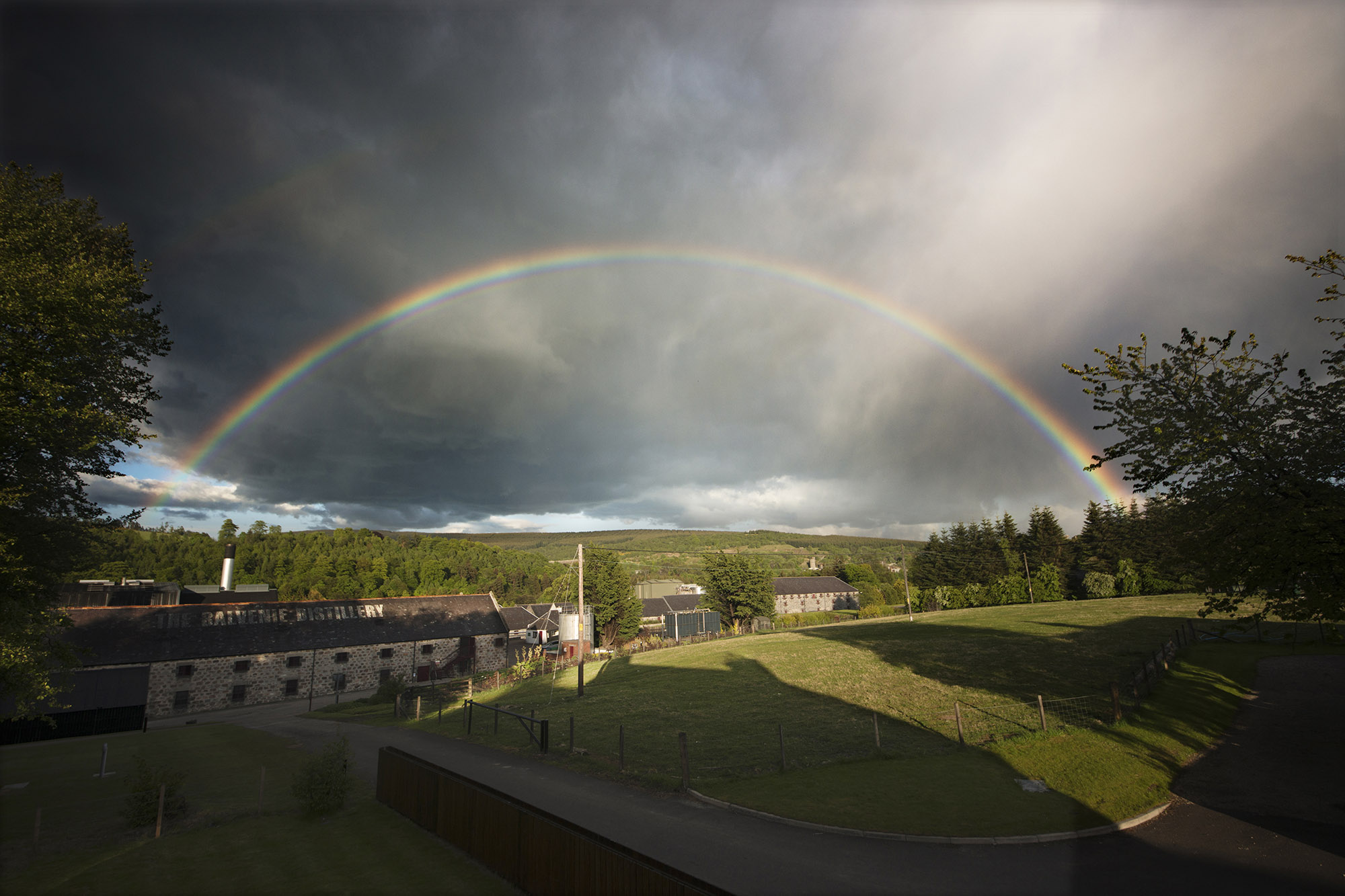 Rainbow over Balvenie distillery